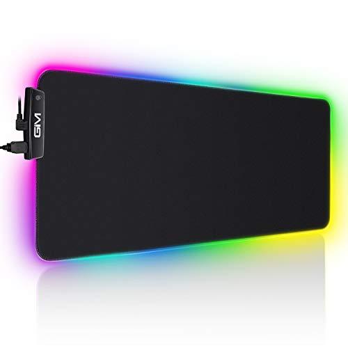 ICETEK RGB Nouveau Tapis de Souris de Jeu avec 14 LED Lumières Commutables à écran Tactile Tapis de Souris de Bureau à Domicile USB Adapté pour Ordinateur de Bureau PC-XL- (800 * 300 * 5MM)