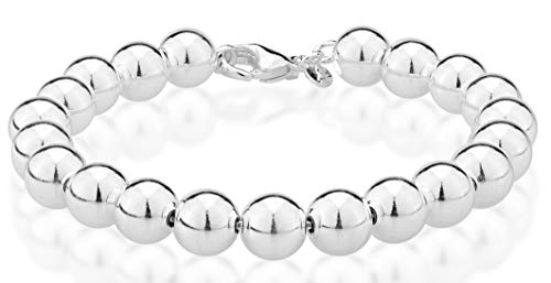 Miabella 925 Sterling Silver Italian Handmade 8mm Bead Ball Strand Chain Bracelet for Women 7, 7.5, 8 Inch Made in Italy (7.0 Inches (5.5'-5.75' Wrist Size))