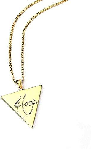 ZJJLWL Co.,ltd Collar Hombres Niños Collar de Hip Hop Cinta de Oro Brillante Hatet Triángulo invertido Colgante Collar Accesorios de joyería de Moda Regalo para Mujeres Hombres Regalos