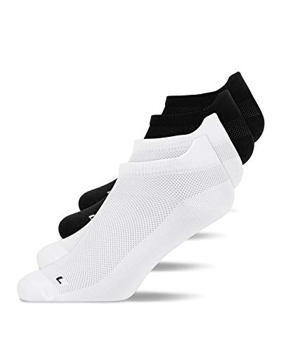 Snocks 4 Pairs Trainer Anti-Blister Running Socks Men Multicoloured (Black & White) Size12-14 UK, Men Athletic Sport Socks for Short & Long Distances