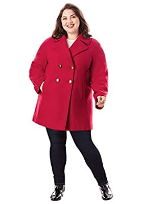 Roamans Women's Plus Size Modern A-Line Peacoat - 14/16, Classic Red by Roamans