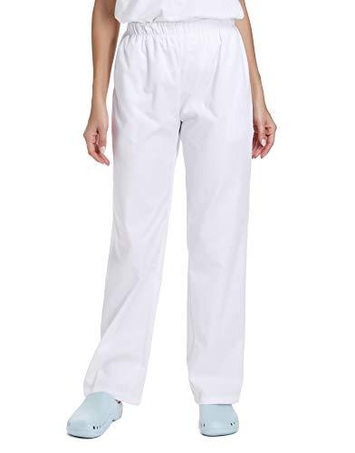 WWOO Donna Pantalone da lavoro Bianco puro Cotone Pantaloni Pantaloni da Infermiere opaco pantalaccio con elastico Materiale Sottile M