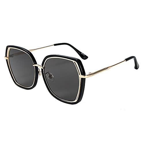 FACHA Gafas de sol unisex con marco irregular, marco hueco, espejo de la calle, gafas de protección UV (color: negro, tamaño: M)