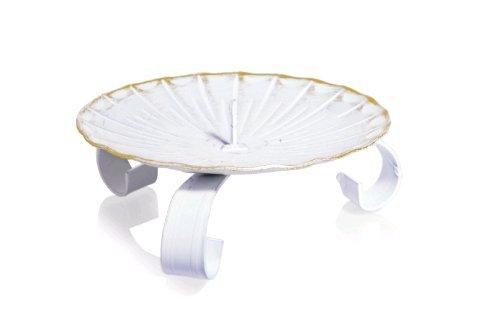 Kerzenhalter Weiss/Gold, 80 mm Durchmesser
