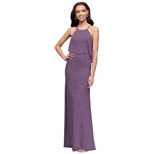 David's Bridal Flounced Crinkle Chiffon Sheath Bridesmaid Dress Style F19773, Wisteria, 26