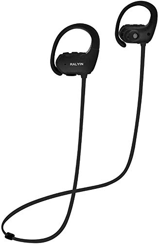 Ralyin Bluetooth Headphones with Mic Sport Wireless Earbuds Built in Microphone Ear Hook Headset for Running Jogging Gym Workout Sweatproof Earphones Cordless Audifonos 8 Hours Play Time