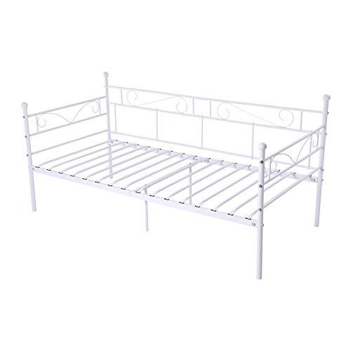 LiePu Sofá Cama Metálica Diván Cama para Dormitorio Salón Cuarto de Invitados,Adecuado para Colchón de 90 * 190 cm,Blanco