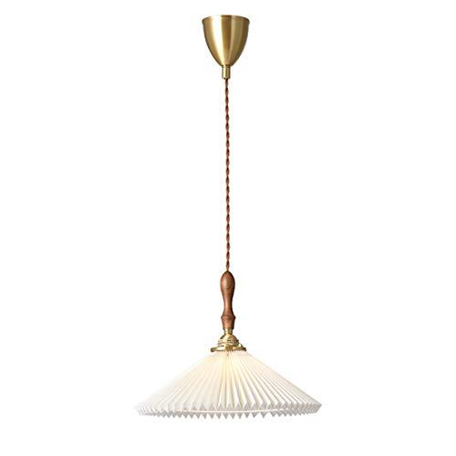 Einfache Vintage LED Pendelleuchte Plissee Art Design Walnuss kreativ Esszimmer Hängelampe Rustikal Stil Höhenverstellbar Deco-Lampe für Esstisch Arbeitszimmer Hotel Café lampe E14x1,Ø31x23cm