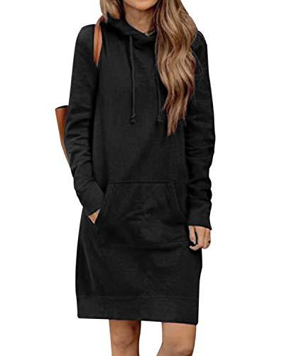 Kidsform Hoodie Damen Sweatshirt Kapuzenpullover Pulli Kleid Pullover Herbst Sweatjacke mit Tasche 3-Schwarz M