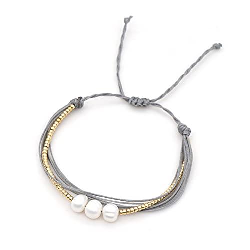 SONGK Pulsera para Mujer Pulseras de Agua Dulce Joyas Perlas Naturales Color Dorado Cuerda de Perlas con Cuentas Brazalete Hecho a Mano