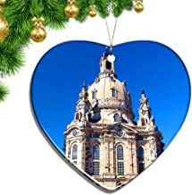 Kysd43Mill Deutschland Frauenkirche Dresden Herz Form Weihnachtsschmuck Keramik Blatt Souvenir Stadt Reise Anhänger Geschenk Weihnachtsbaum Dekoration Ornamente Andenken Geschenke