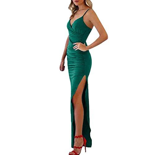 Culater Vestido Cuello En V Color Sólido Honda Sin Mangas Frío Vestido De Noche Apretado Verano Vestido Largo Vestido De Las Mujeres Verde L