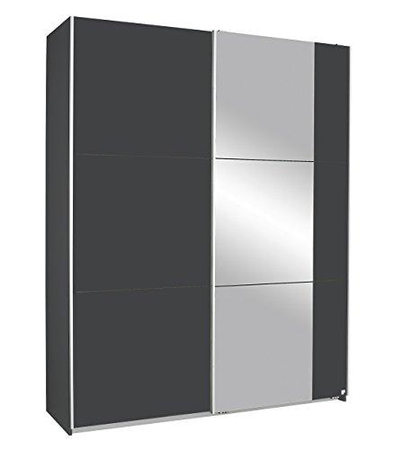 Rauch Möbel Kronach Schrank Schwebetürenschrank, 2-türig, Grau Metallic mit 1 Spiegel, inkl. Zubehörpaket Basic 2 Kleiderstangen 2 Einlegeböden, BxHxT 175x210x59 cm