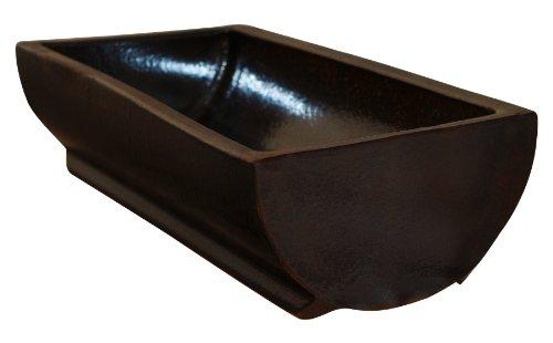 Futtertrog 30 x 80 cm vollglasiert , braun , Steinzeug (Keramik)
