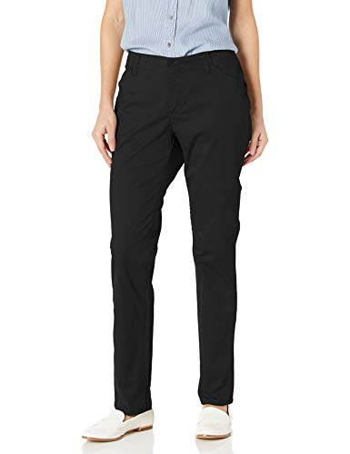 Lee Women's Midrise Fit Essential Chino Pant, Black, 18 Short