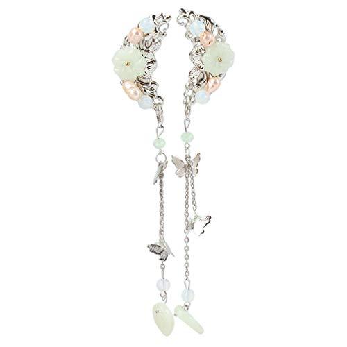 Hengxing Schmetterling Quaste Haarspange Kristall Blume Kette Chinesische Kopfbedeckung Haarnadel Modeschmuck,Grün