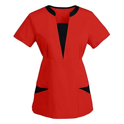 Work Uniform Shirts for Women Short Sleeve V Neck Nurse Tops Vintage Sun Moon Cartoon Cat Print Solid Blouse with Pocket