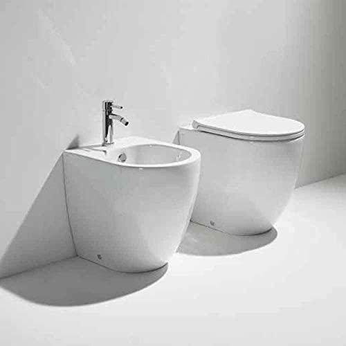 Sanitari filomuro in ceramica SIMAS collezione Vignoni XS vaso, bidet, sedile slim soft-close
