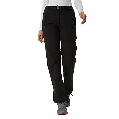 LANBAOSI Womens Hiking Pants Winter Outdoor Fleece Lined Insulated Ski Snow Pants Warm Lightweight Softshell Trousers Black