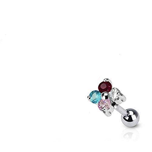 Arcobaleno Quadrupla floreale di cristallo Fiore Burst Tragus o cartilagine Piercing Spessore: 1.2mm Lunghezza: 6mm Formato della sfera: 5mm Materiale: acciaio chirurgico