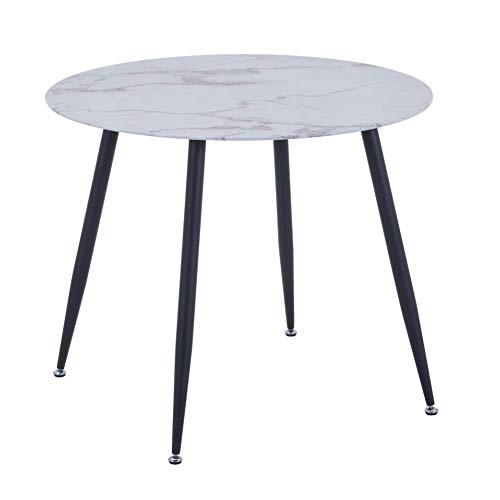GOLDFAN Rund Esstisch aus Glas Moderner Wohnzimmertisch Weiß Küchen Tisch Mit Metallbeine 80cm