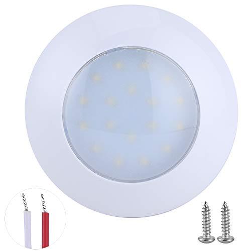 18 LED RV Interior Domo Puck Luz Redonda IP67 Impermeable 5000‑6000K 3.6W 360LM Lámpara de techo de automóvil 120 mm 12V-24V