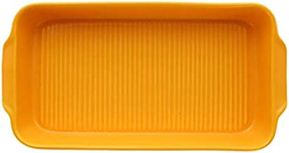 Doramie Rectangle Design Colorful Ceramic Bakeware Decorative (Orange)