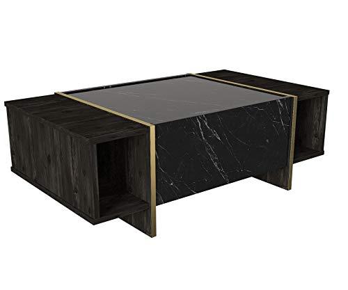 Alphamoebel 4982 Veyron Couchtisch Sofatisch Wohnzimmertisch Tisch fürs Wohnzimmer, Holz, Braun Dunkelgrau Marmor Optik, Hochglanz, Ablagefächer, Stauraum mit Tür, Designertisch, 103,8 x 37,3 x 60 cm