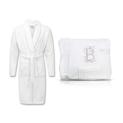 Bademantel Herren Damen bestickt mit Ihrem Buchstaben   personalisiert   Mantel mit 2 Taschen + Gürtel