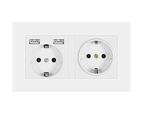 Tegcare USB Steckdosen, Schutzkontakt Steckdosen mit 2 USB Anschluss, Wandsteckdose (DOUBLE), 210.01 g
