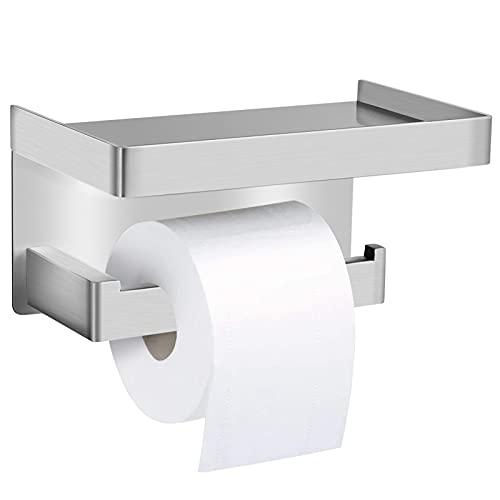 Ausbond Portarrollos de papel higiénico SUS304, sin taladrar, con estante, de acero inoxidable, autoadhesivo, soporte de papel de baño, soporte de pared para cocina y baño, color blanco