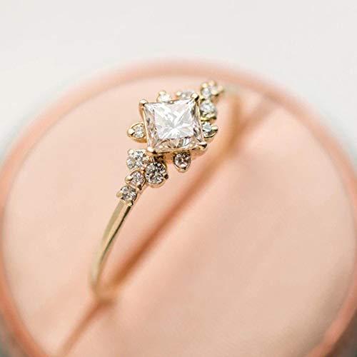 Huxindao Vintage Ring Gold Plated Engagement Ring Diamond Wedding Ring 14k Gold Milgrain Band for Women (9)