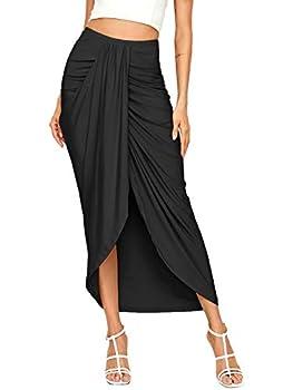 SheIn Women s Casual Slit Wrap Asymmetrical Elastic High Waist Maxi Draped Skirt Black X-Large