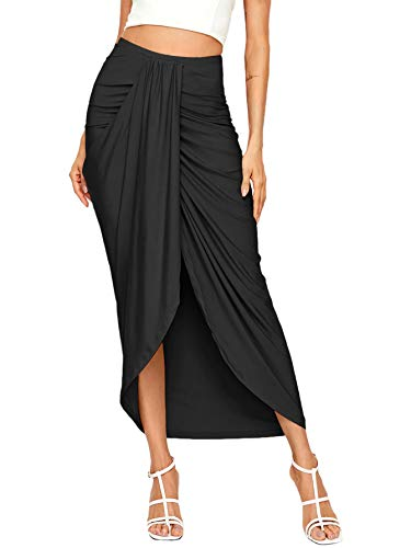 SheIn Women's Casual Slit Wrap Asymmetrical Elastic High Waist Maxi Draped Skirt Black Small