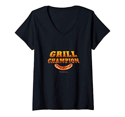 Damen Grill Design Grill Champion lustiges Grill Sprüche T-Shirt mit V-Ausschnitt