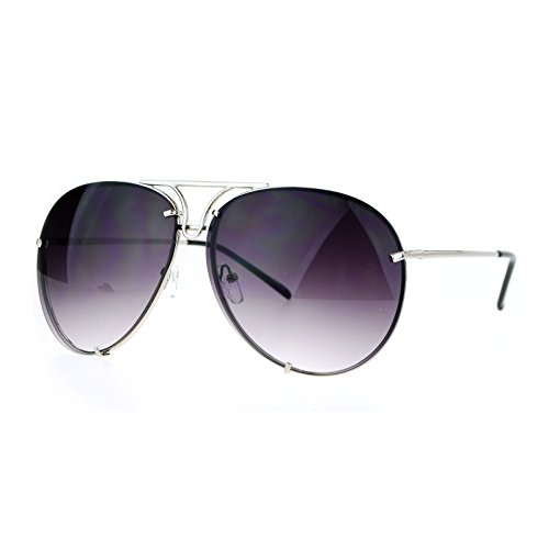 Oversized Round Aviator Sunglasses Metal Rims Behind Lens Silver, Smoke