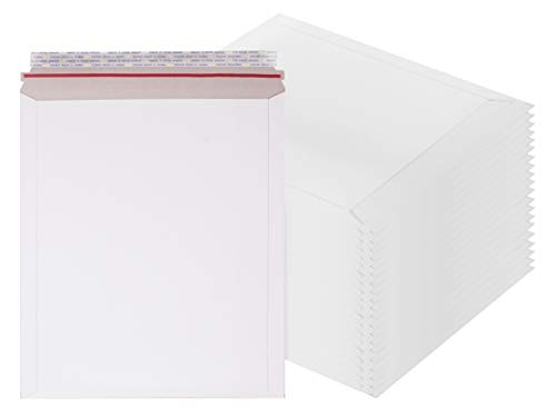 Rigid Mailers 11 x 13.5 Paperboard mailers 11 x 13 1/2 by Amiff. Pack of 20 white photo mailers. Stay Flat mailers. No bend, Self sealing. Documents chipboard envelopes. Mailing, shipping, packaging.