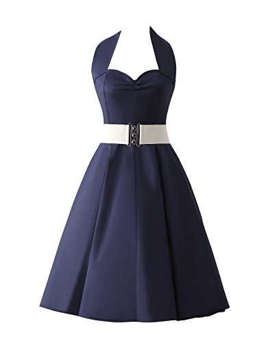 VKStar®Retro Chic ärmellos 1950er Audrey Hepburn Kleid / Cocktailkleid Rockabilly Swing Kleid Marineblau M - 2