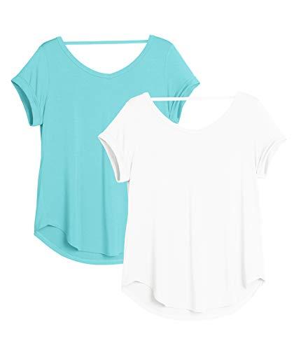 icyzone Camiseta de Yoga Deportiva de Suelta Transpirable de Manga Corta de Espalda Abierta para Mujer,Pack de 2 -M-
