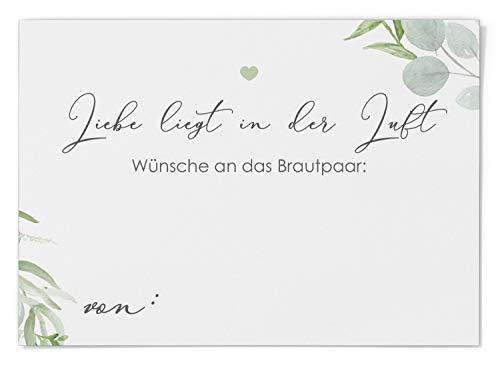 Ballonflugkarten zur Hochzeit 50 Stück, extra leichte Postkarten für langen Flug, Platz für Glückwünsche (Eucalyptus Green Love)
