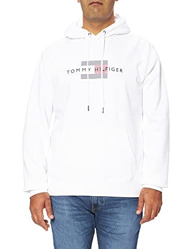 Tommy Hilfiger Lines Hilfiger Hoody Sudadera con Capucha, Blanco, XL para Hombre