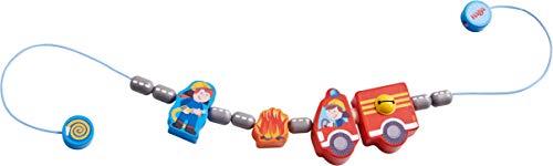 HABA 304633 - Kinderwagenkette Feuerwehrauto, Baby-Spielzeug mit Feuerwehr-Motiven und Glöckchen, Kinderwagen-Zubehör, geeignet ab 0 Jahren