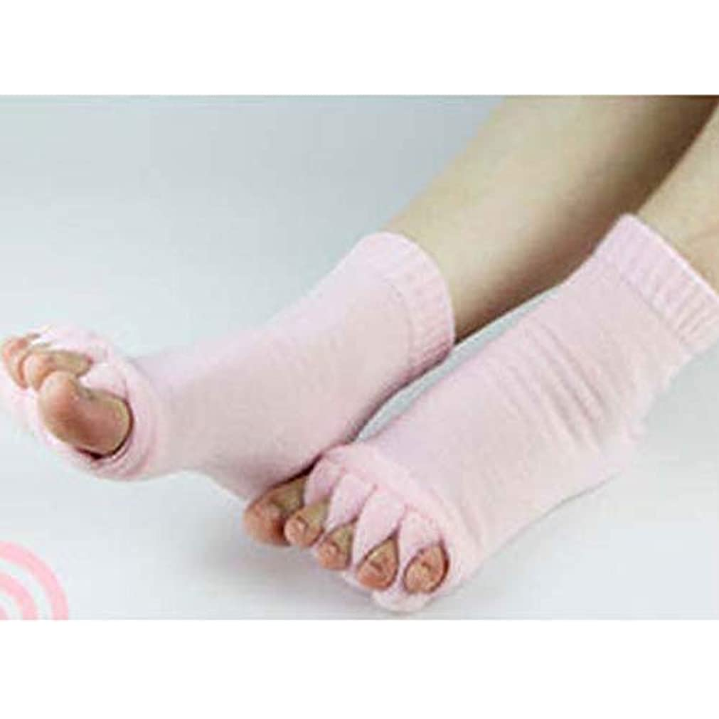 機知に富んだもっと少なく撃退する足指スリーピングソックス 足指セラピー ピンク