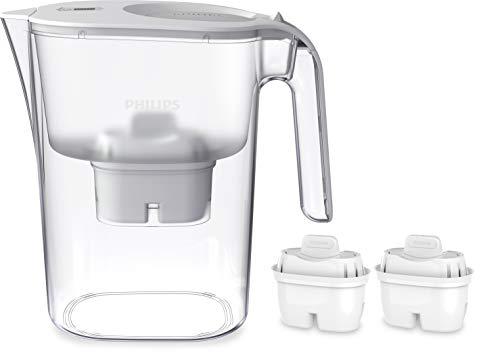 Phillips - AWP2936 - Jarra filtro de agua, Incluye 2 cartuchos Micro X Clean, Reduce la cal, el cloro y los Microplásticos y PFOA, Agua filtrada con gran sabor y pureza, 3 Litros, Blanco