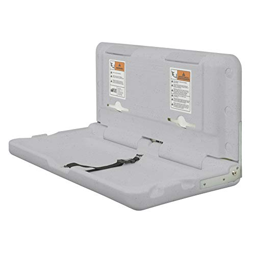 ECR4Kids Wall-Mounted Baby Changing Station, Horizontal Fold-Down Diaper Change Table with Safety Straps for Commercial Bathrooms, ADA and ANSI Compliant, Free Replacement Straps, Grey Speckled