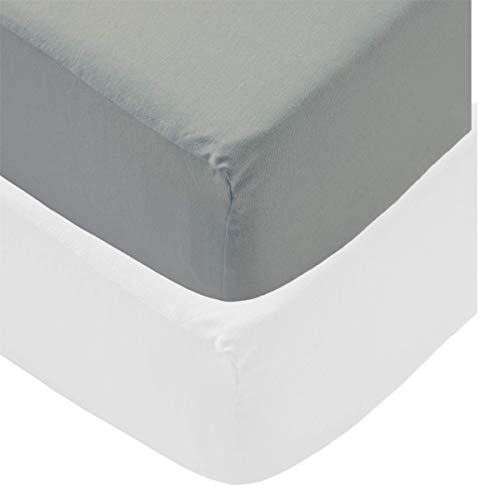 Sasma Home - 100% Natural Cotton 4 x Pack Jersey Crib Fitted Sheets (85 x 50 cm) Compatible with Next2Me Mattress - 2xWhite and 2xGrey