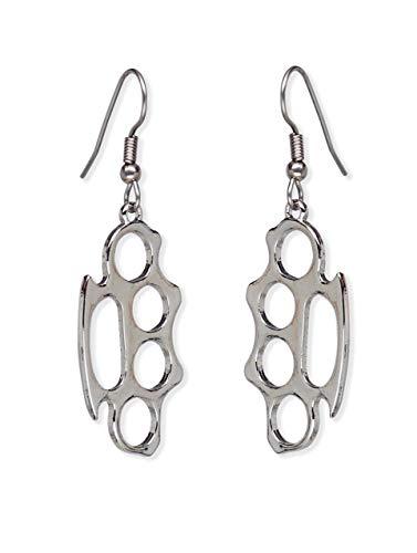 Brass Knuckles Polished Silver Finish Dangle Earrings