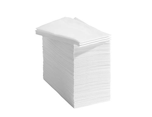 50 Linen Feel Disposable Bathroom Napkins - White   Disposable Guest Towels   Wedding Napkins   Paper Napkins   Disposable Paper Hand Towels for Guest Bathroom, Parties, Weddings, Dinners Or Events