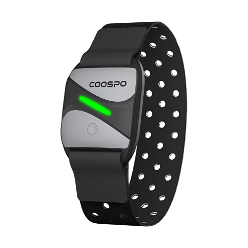CooSpo Frecuencia Cardíaca Bluetooth 4.0 Ant+ Sensor óptico de Pulsómetro Brazo para Wahoo Garmin Zwift Strava Rouvy Trainerroad