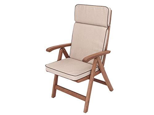 Cojín para silla con respaldo alto, cojín para sillón, tumbona de jardín, dimensiones del asiento: 49 x 47 cm, respaldo alto 72 cm, cojín de jardín, color beige
